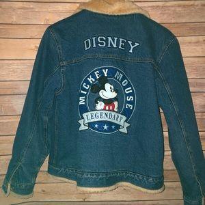 Disney Mickey Mouse Lined Denim Jean Jacket L